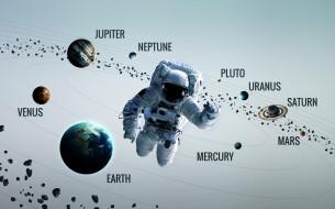 вселенная, галактики, звезды, космонавт, планеты