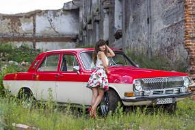 Волга, ГАЗ- 24, автомобиль, девушка, классика