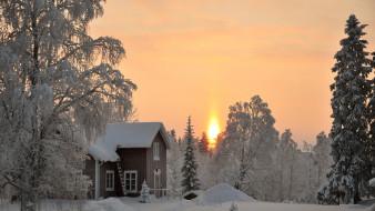дом, снег, зима, лес, деревья
