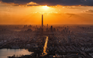 небоскребы, город, панорама, китай, азия, закат, тяньцзинь