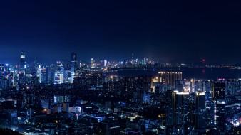 ночь, огни, wallhaven, мегаполис, синий, город