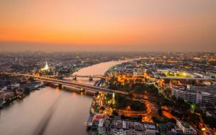 город, вечер, россия, новосибирск, панорама, здания, река, мост