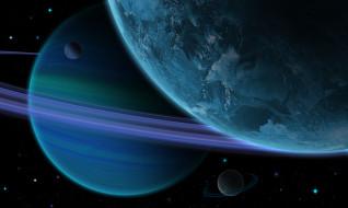 космос, арт, галактики, вселенная, планеты, звезды