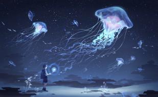 мальчик, медузы