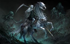 мистика, белфй конь, девушка на лошади, скелеты, готика, карусель мертвецов
