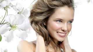 улыбка, цветы, лицо, блондинка