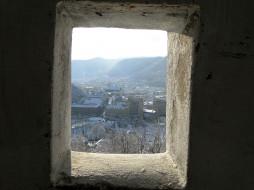 горы, панорама, окно, бойница, город