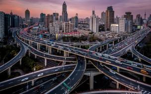 шанхай, китай, города, шанхай , азия, город, трасса, дорожные, развязки