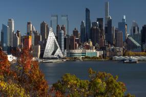 вода, деревья, рендеринг, nic lehoux, городской пейзаж, небоскреб, сша, нью-йорк, здание, архитектура