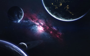 космос, арт, планеты, вселенная, галактики, звезды
