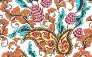 векторная графика, цветы , flowers, текстура, узор, пейсли, белый, фон, цветы