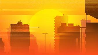 векторная графика, город , city, by, michael, ретровейв, синтвейв, futuresynth, synthwave, retrowave, synth, summer, город, солнце, закат