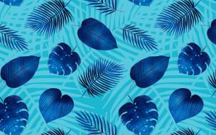 leaves, pattern, голубой фон, текстура, синий, листья