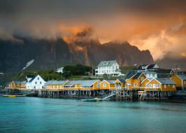 дома, Норвегия, горы, поселение, фьорд, город