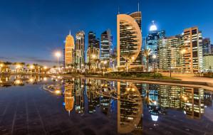 здания, отражение, Doha, ночной город, Sheraton Park, Доха, Катар, Qatar, небоскрёбы