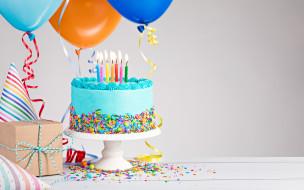 торт, свечи, шарики