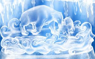 векторная графика, животные , animals, белые, лед, медведи