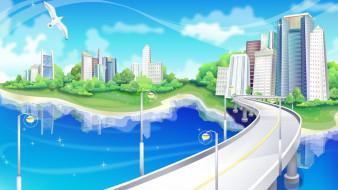 город, река, мост, чайка