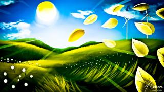 поле, листья, солнце