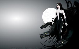дракон, луна, девушка