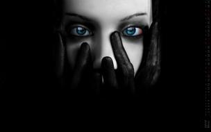 лицо, женщина, взгляд, перчатки