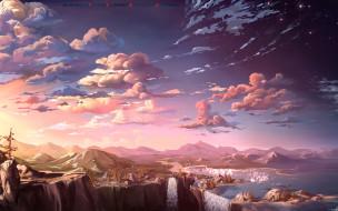 гора, водопад, облако