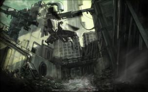 здание, разрушение, звездолет