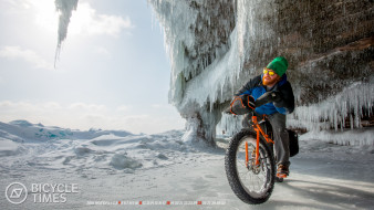 мужчина, снег, велосипед