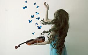 скрипка, девушка, бабочки