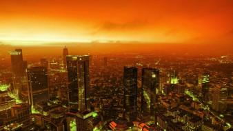 небоскребы, панорама, дома, здания, закат