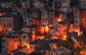 Tuscany, Sorano, ночь, Italy