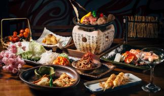 сервировка, ассорти, блюда, морепродукты