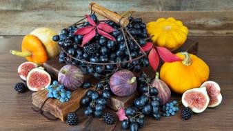 виноград, ежевика, тыква, инжир