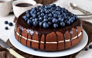 черника, торт, глазурь