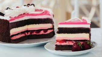 клубника, торт