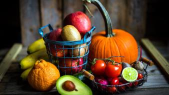 апельсин, авокадо, бананы, киви, помидоры, редис, тыква