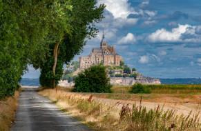 mont-saint-michel, города, крепость мон-сен-мишель , франция, простор