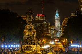 philadelphia, города, - огни ночного города, простор