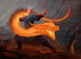 огонь, дракон, мужчина, фон