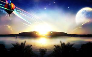 закат, линии, воздушный шар, природа