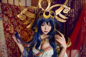 косплей, длинноволосая, колдунья, головной убор, азиатский, синие, коготь, челка