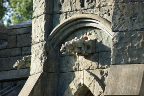 камни, Замок, скульптура, деревья