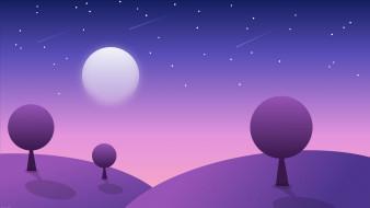 луна, горы, небо, деревья
