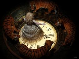 блондинкa, тигры, Lee McCall, по кругу, заклинание, в темноте, белое пламя, колдунья, art, циферблат, кружева