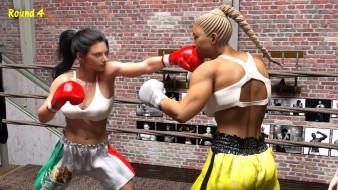 взгляд, ринг, фон, бокс, девушки