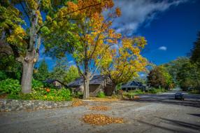 улица, дома, дорога, США, жёлтые, Michigan, Northport, солнце, осень, листья, небо, облака, деревья, машины