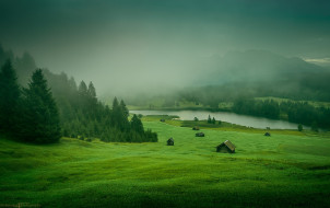 mountains, houses, forest, Nature, meadow, river, grass, trees, landscape, mist