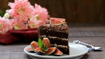 инжир, торт, мята