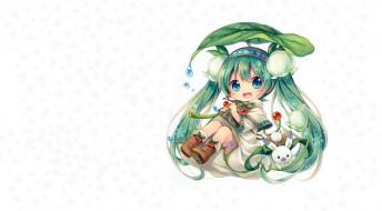 Spring Miku, снежинки, Мику, чиби, арт, вокалоид, ландыш, аниме, весна, зайчик, цветы, девушка