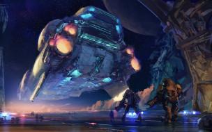 корабль, роботы, фантастика, арт, sci-fi, небо, звезды